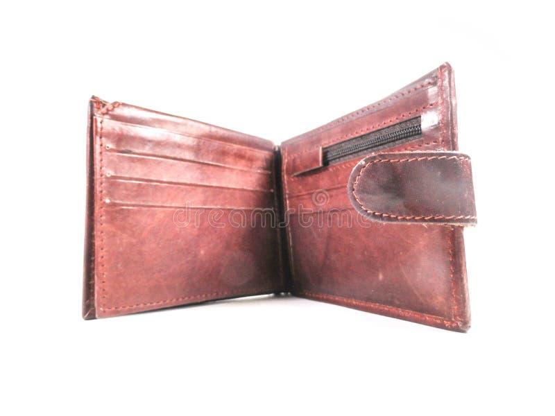 portefeuille Mensen` s portefeuille beurs Bruine portefeuille die van leer wordt gemaakt stock afbeelding