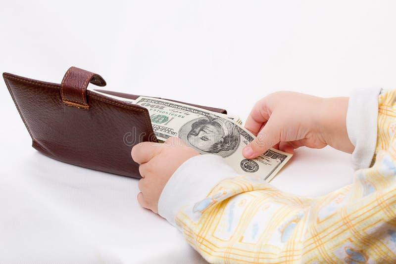 Portefeuille met dollars en het kind royalty-vrije stock foto's
