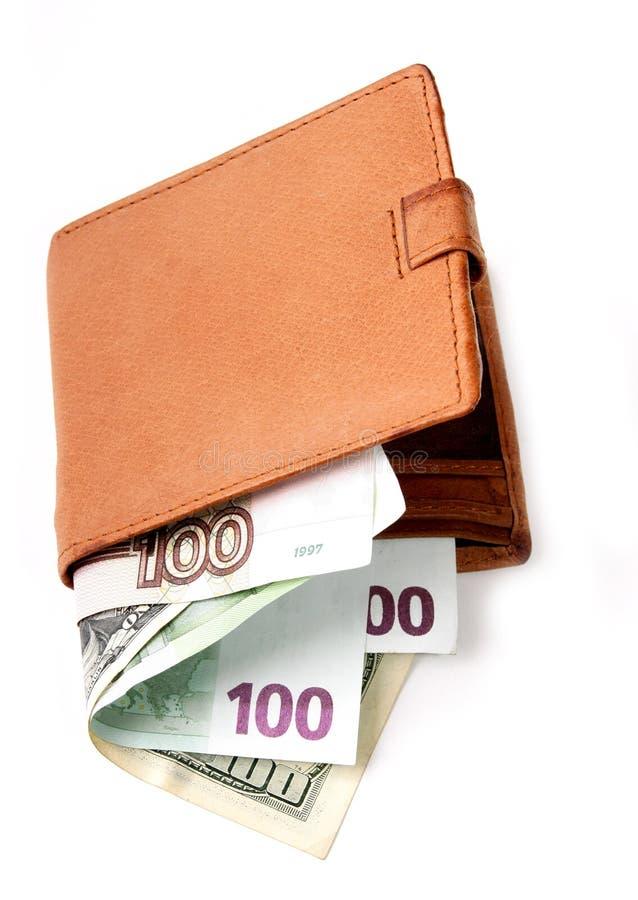 Portefeuille met geld stock foto