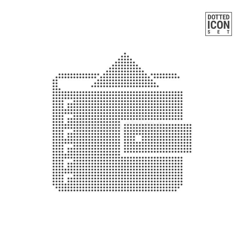 Portefeuille met Geld Dot Pattern Icon Beurs met Contant geld Gestippeld die Pictogram op Wit wordt geïsoleerd Vectormalplaatje A stock illustratie