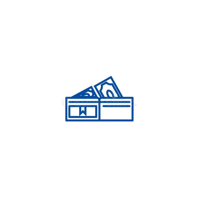 Portefeuille met het pictogramconcept van de bankbiljettenlijn Portefeuille met bankbiljetten vlak vectorsymbool, teken, overzich royalty-vrije illustratie