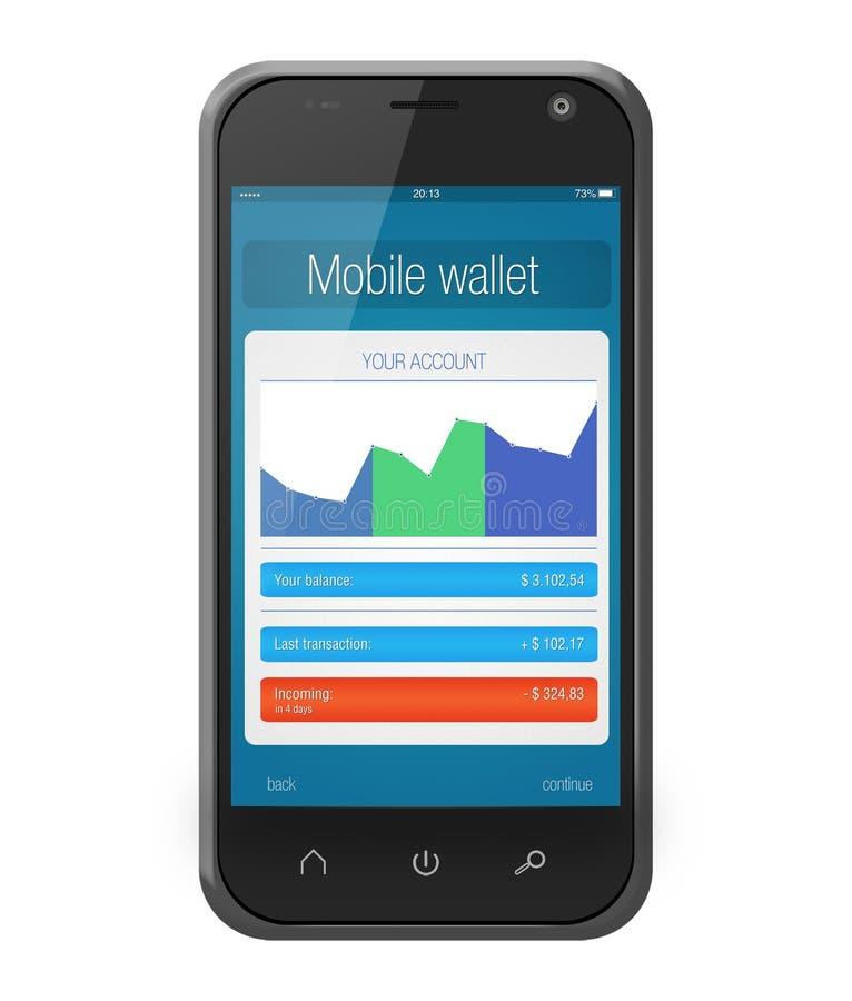 Portefeuille mobile d'application d'opérations bancaires sur l'écran de smartphone illustration stock