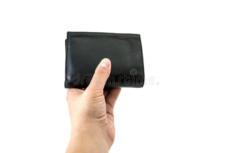 Portefeuille noir à disposition sur le fond blanc photos stock