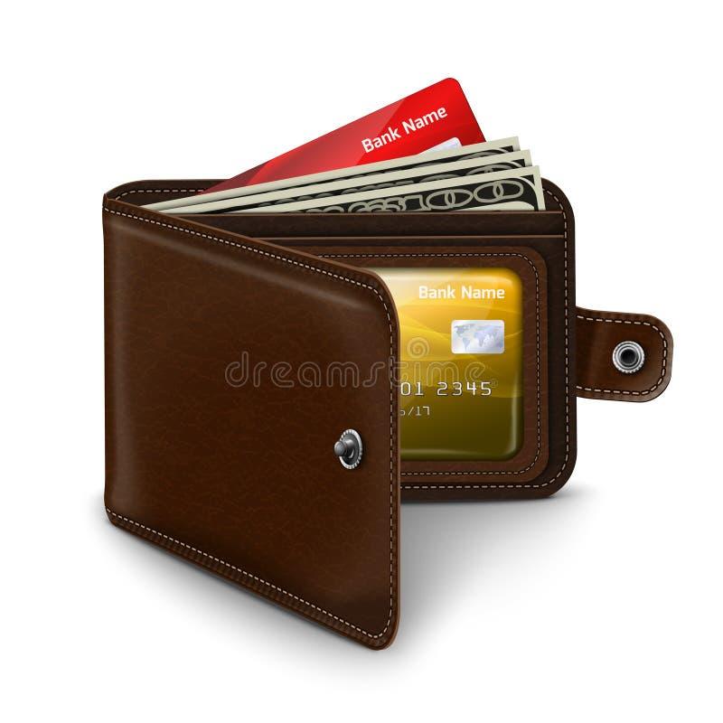 Portefeuille ouvert de cuir avec des factures d'argent de carte de crédit illustration stock