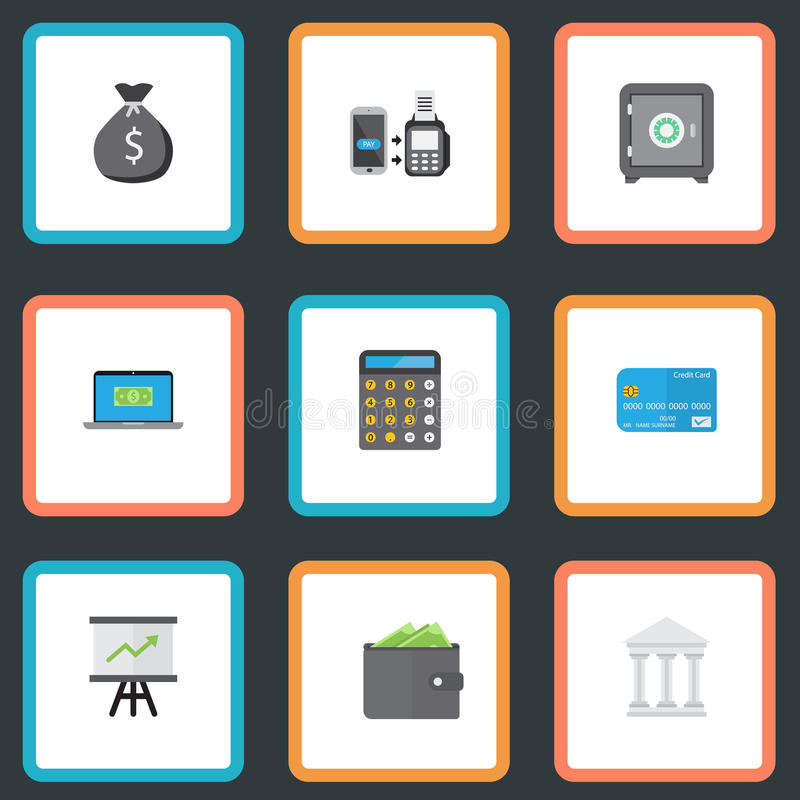 Portefeuille plat d'icônes, comptabilité, paiement d'extérieur et d'autres éléments de vecteur Ensemble d'encaisser des symboles  photo stock