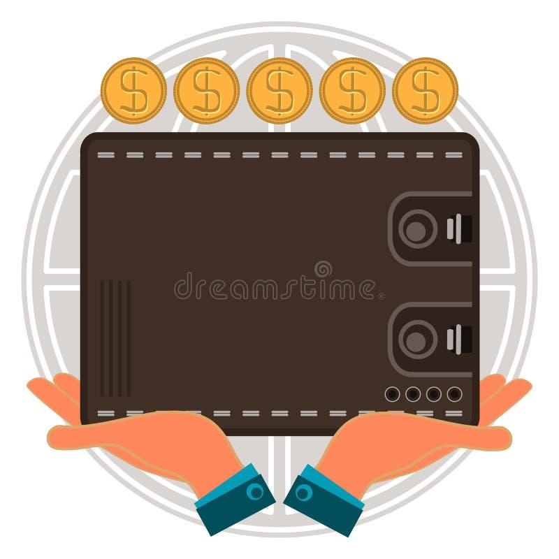 Portefeuille pour l'argent liquide disponible, pièces d'or du dollar, globe illustration libre de droits