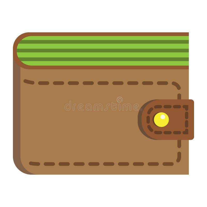 Portefeuille vlakke pictogram, zaken en financiën, beursteken vector illustratie