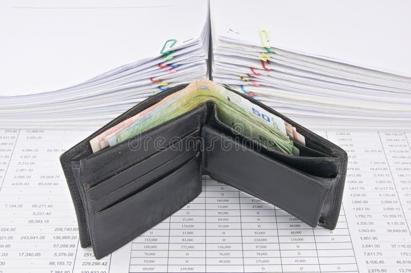 Portefeuillehoogtepunt van rekeningen royalty-vrije stock foto's