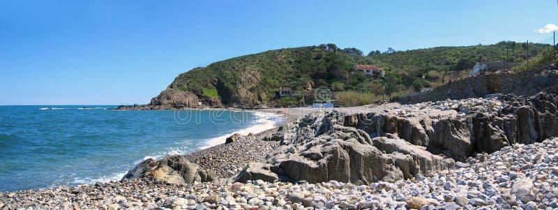 Porteils Bucht in französischem Mittelmeer stockfoto