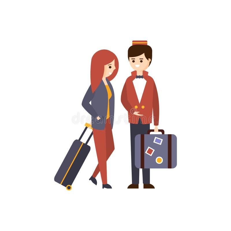 Porteiro Helping um convidado fêmea com ilustração primitiva temático dos desenhos animados do hotel da bagagem ilustração royalty free