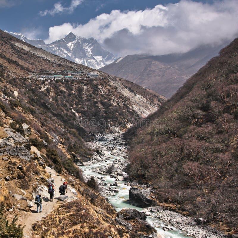Porteiros que andam na maneira ao acampamento base de everest Parque nacional de Sagarmatha nepal foto de stock