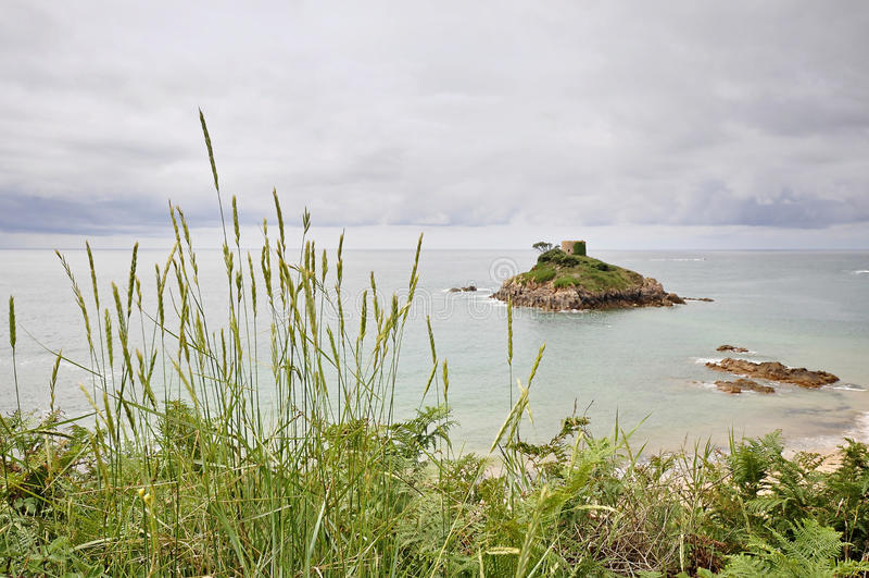 Portelet海滩在泽西,海峡群岛 库存照片