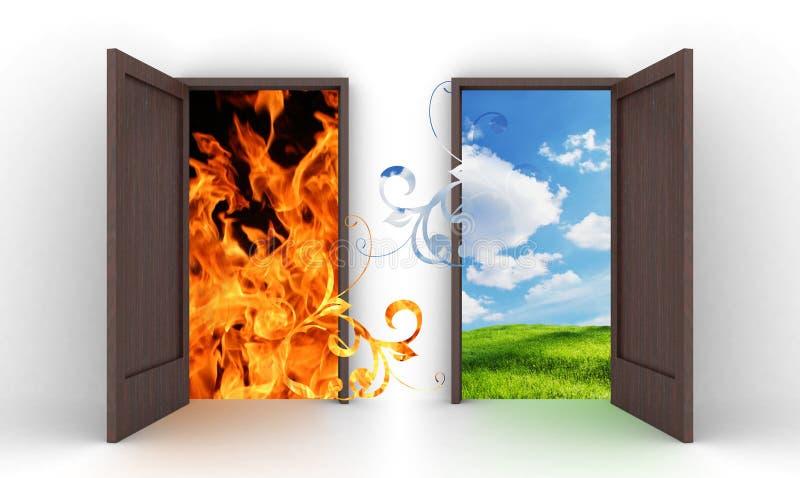 Portelli aperti in cielo blu ed in fuoco fotografia stock libera da diritti