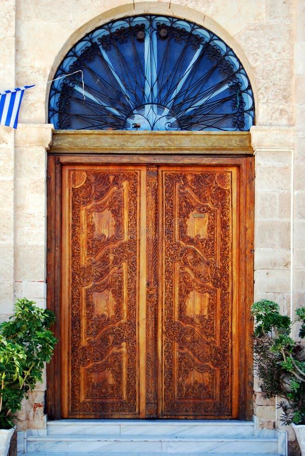 Portelli di legno decorati fotografie stock