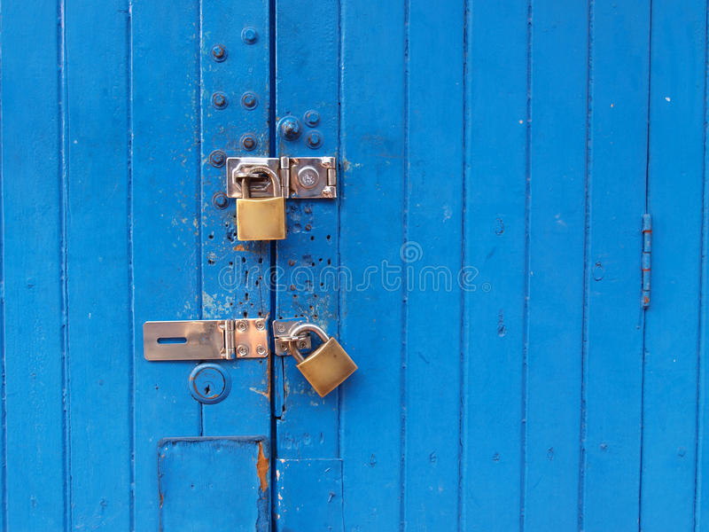Portello blu Locked immagini stock