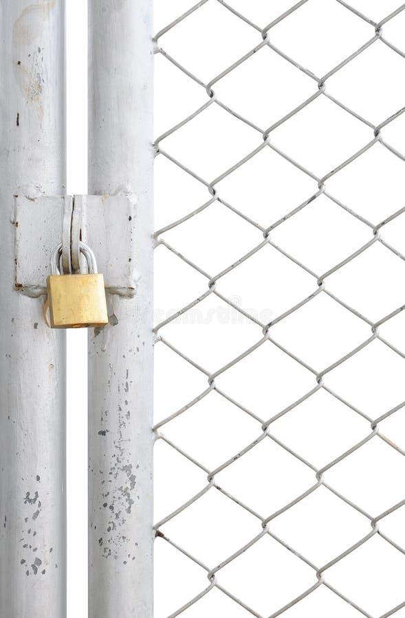 Portello della rete fissa e del metallo di collegamento Chain con la serratura immagine stock