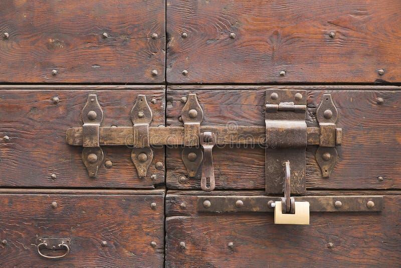 Portello di legno Locked fotografia stock