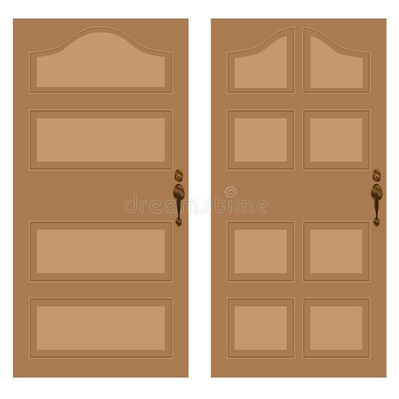 Portello di legno su una priorità bassa bianca Struttura di legno illustrazione di stock
