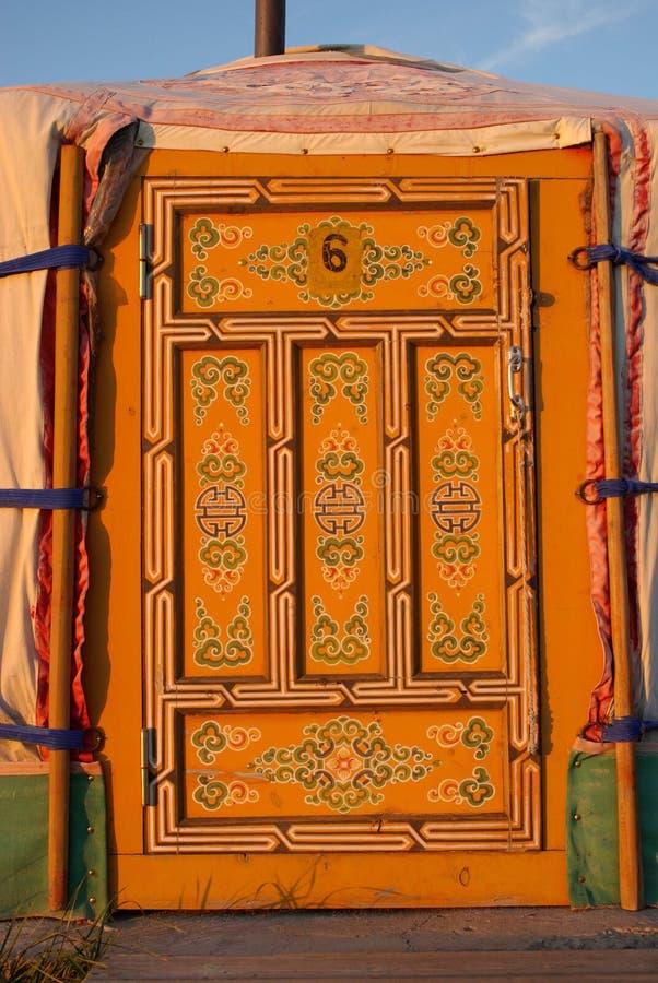 Portello di Yurt in Mongolia immagine stock