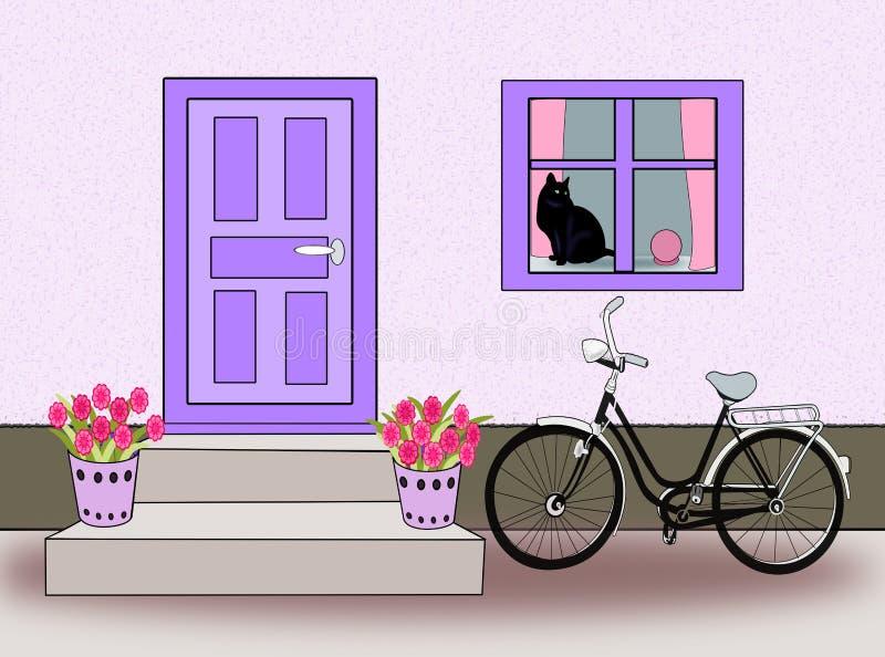Portello, finestra e bicicletta e gatto illustrazione vettoriale