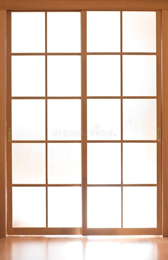 Portello moderno di vetro di scivolamento nello stile del Giappone fotografie stock