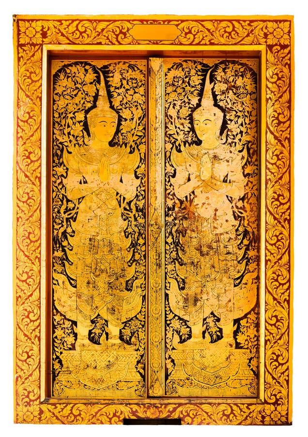 Porten av den offentliga templet målade härlig thai stil på vit bakgrund arkivbilder