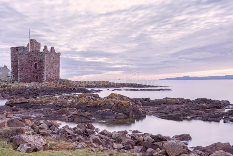 Portencross-Schloss in Portencross-Ayrshire-Rind Schottland stockbilder