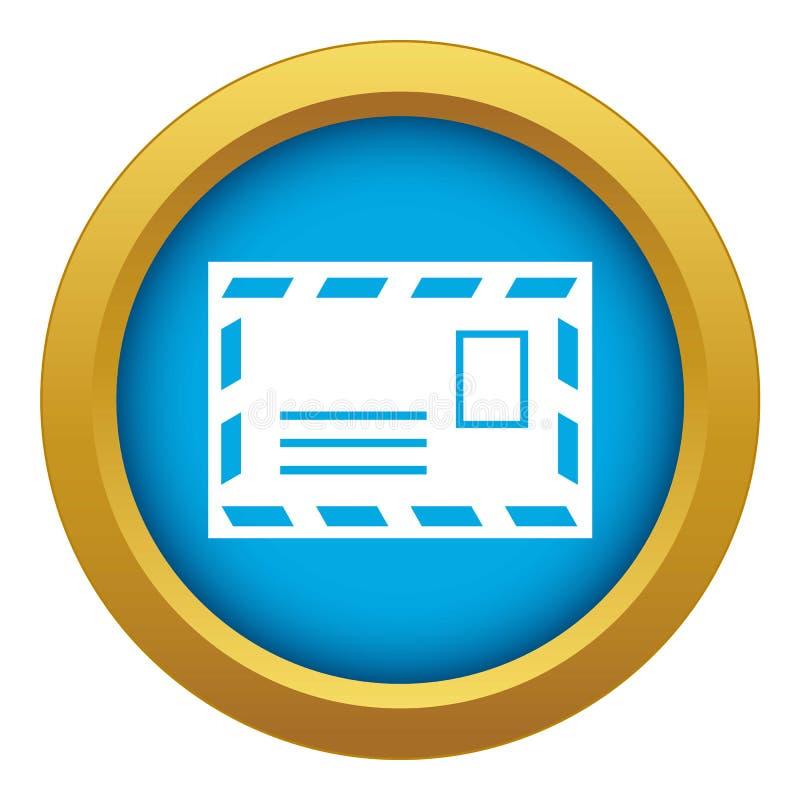 Portenvelop met de blauwe geïsoleerde vector van het zegelpictogram stock illustratie