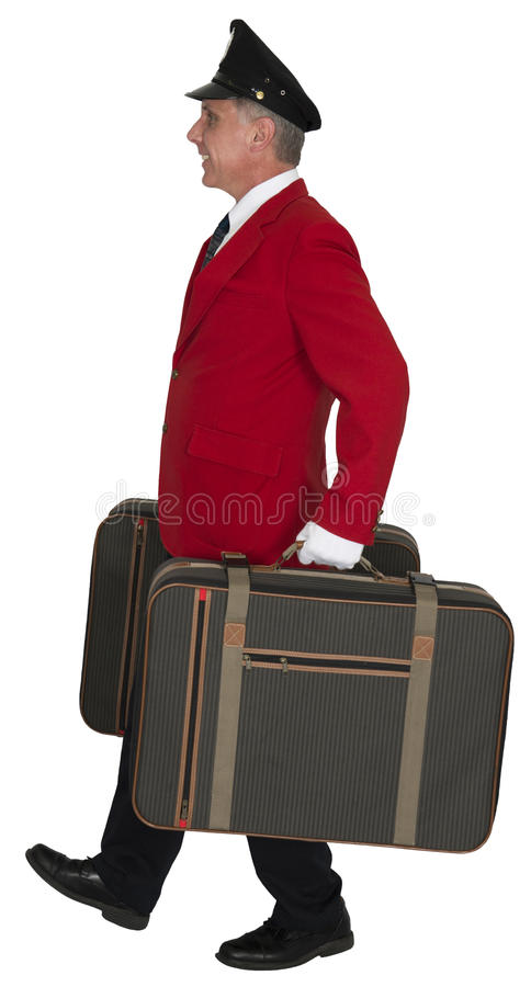 Porter, Baggage Handler, Doorman, Hotel Employee, Isolated royalty free stock image
