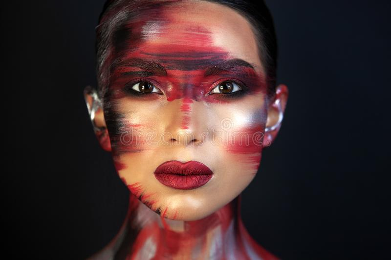 Portrait of a girl of european asian appearance with makeup stock image