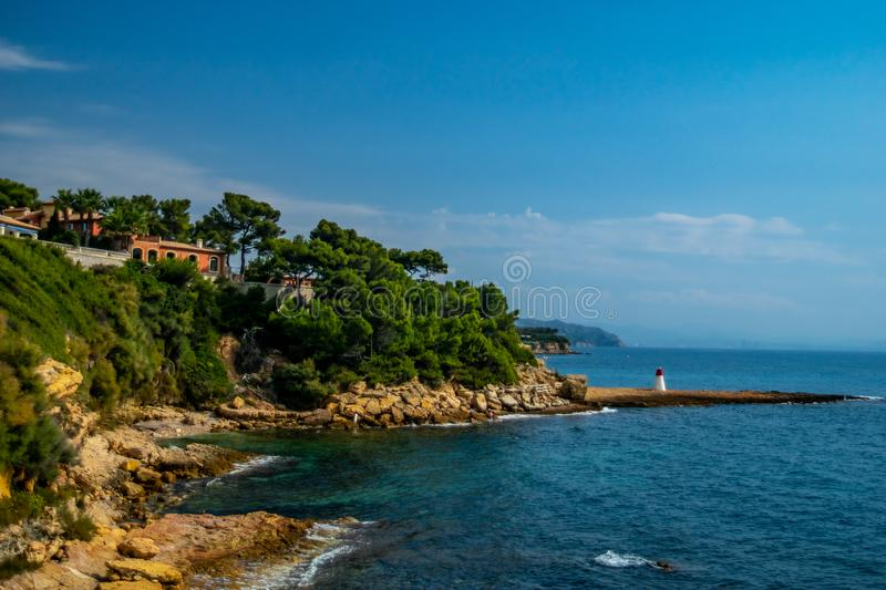Porter-le-rouet peninsula en France Provence photos stock