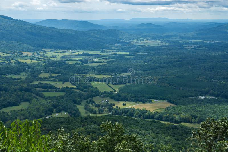 Porter Mountain and Goose Creek Valley, Virginia, USA. Scenic View of Goose Creek Valley with Porter Mountain in the background from the Blue Ridge Mountains of stock photo