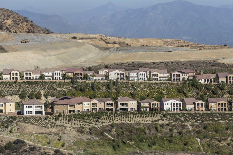 Porter Ranch California Hillside Homes-Bau stockbilder