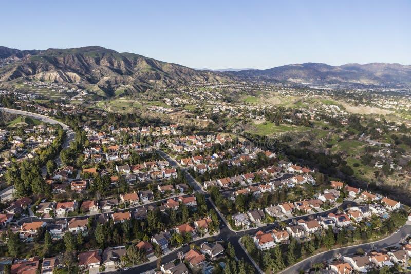 Porter Ranch Streets Aerial em Los Angeles foto de stock