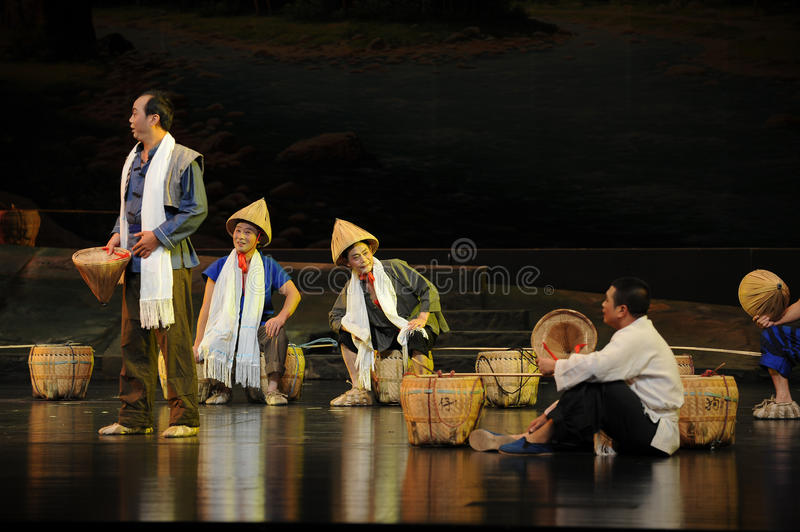 The porter in the rest of the conversation- Jiangxi opera a steelyard. Jiangxi opera a steelyard is adapted from a true story: the last century fortys, the royalty free stock photos