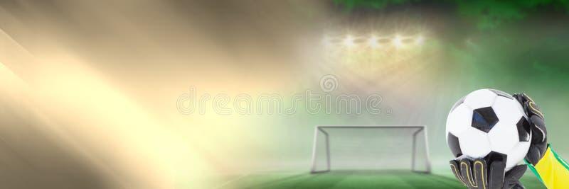 Portero del fútbol que sostiene la bola en meta con la transición stock de ilustración