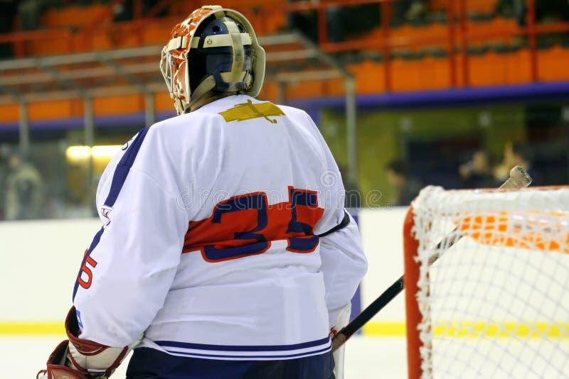 Portero del hockey sobre hielo foto de archivo libre de regalías