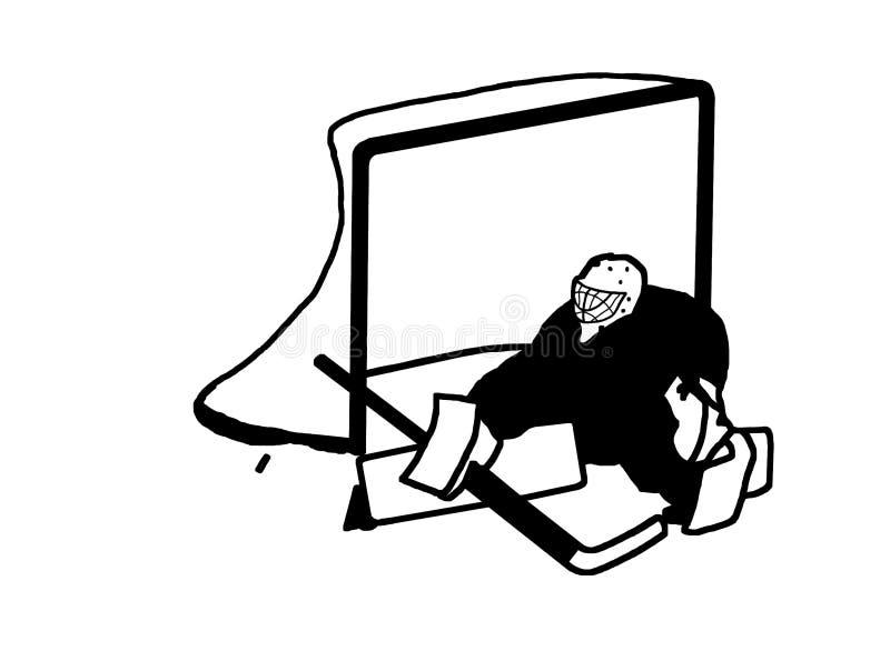 Portero del hockey sobre hielo en la imagen del vector de la puerta ilustración del vector