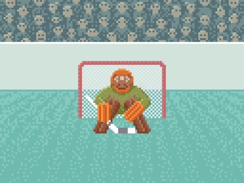 Portero del hockey sobre hielo - pixel Art Illustration stock de ilustración