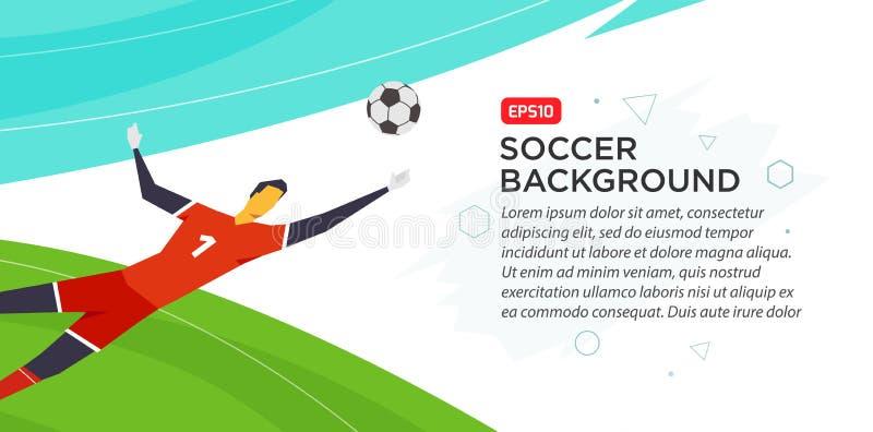 Portero del jugador de fútbol campeonato Engañe el ejemplo del vector del color en estilo plano aislado en el fondo blanco stock de ilustración