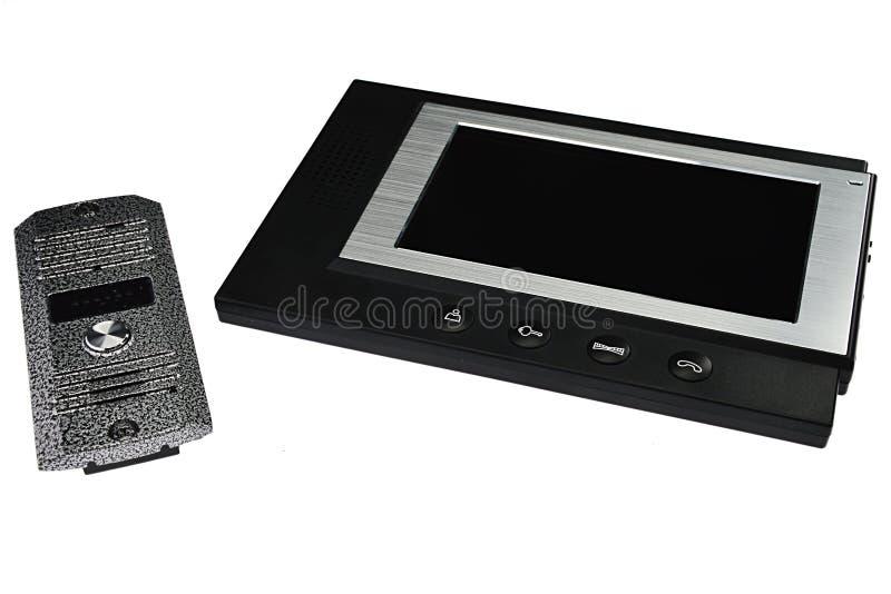 Portero electrónico - unidad de visualización del LCD con el soporte al aire libre de la cámara y del micrófono en el fondo blanc imagen de archivo libre de regalías