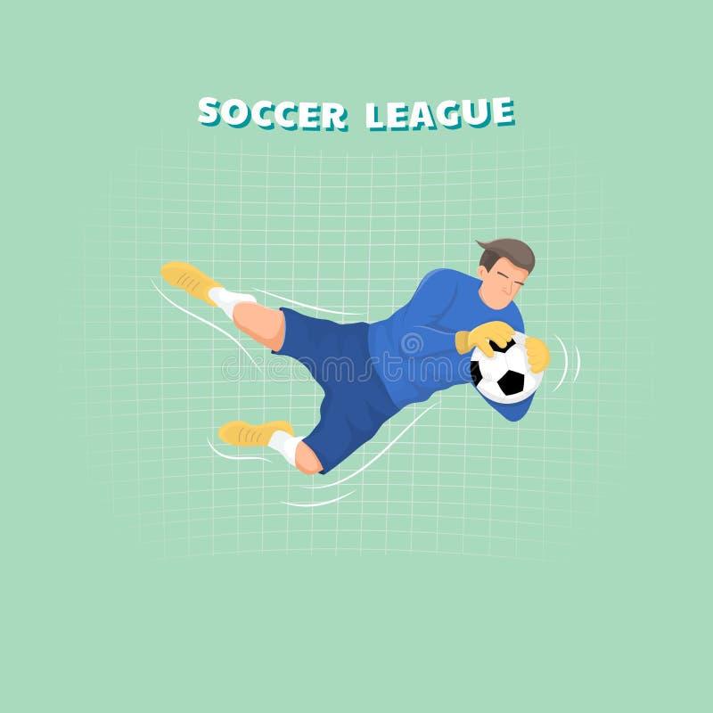 Portero que coge la bola, jugador de fútbol Diseño de carácter plano del deporte stock de ilustración