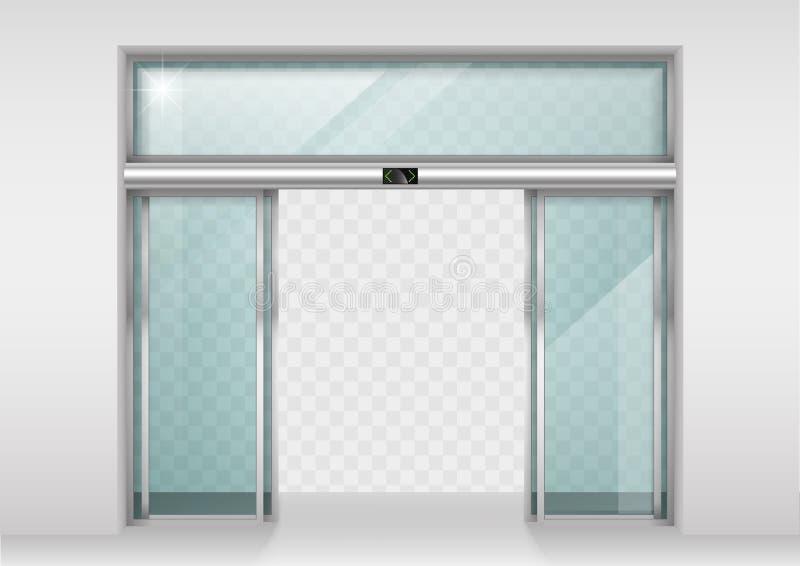 Portes automatiques en verre de glissement illustration libre de droits