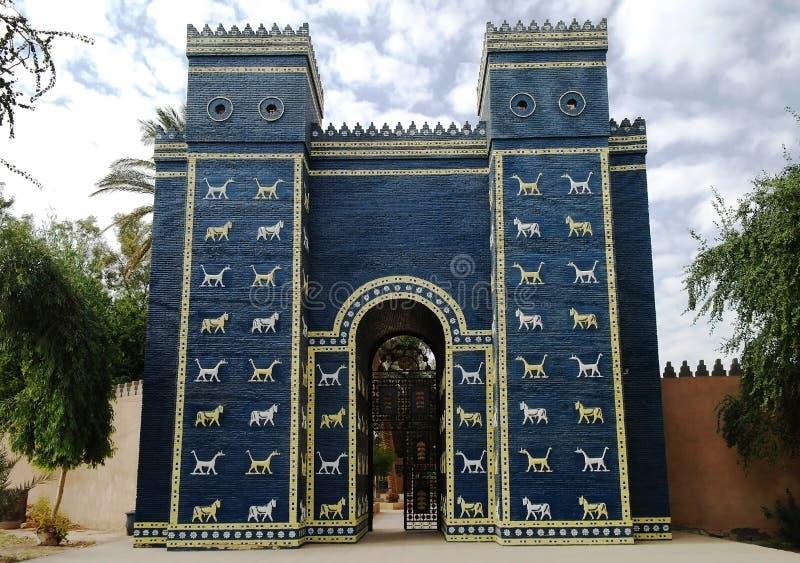 Portes d'Ishtar à Babylone images libres de droits