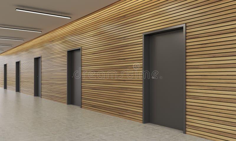 Portes dans le couloir d immeuble de bureaux illustration stock