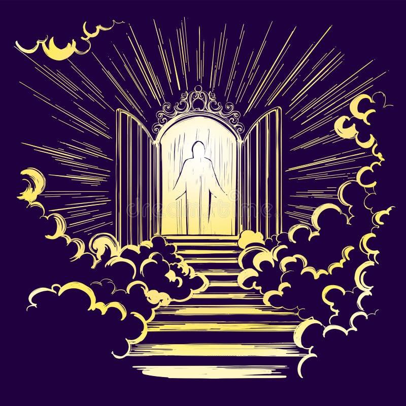 Portes du paradis, entrée à la ville merveilleuse, rencontrant Dieu, symbole de vecteur tiré par la main de christianisme illustration libre de droits