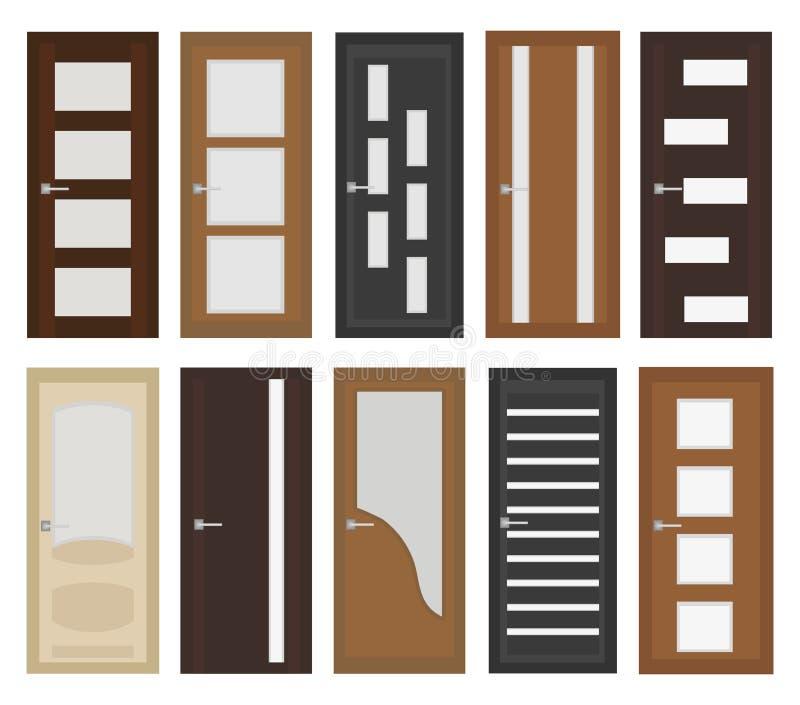 Portes intérieures réglées, style plat Porte avec différents types de verre D'isolement sur le fond blanc Illustration de vecteur illustration libre de droits