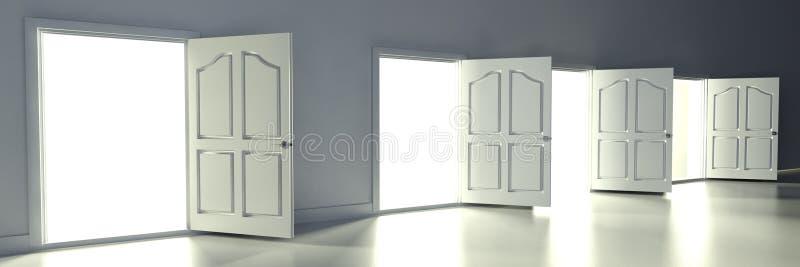 Portes ouvertes 3d dans la chambre vide illustration stock for Conception chambre 3d
