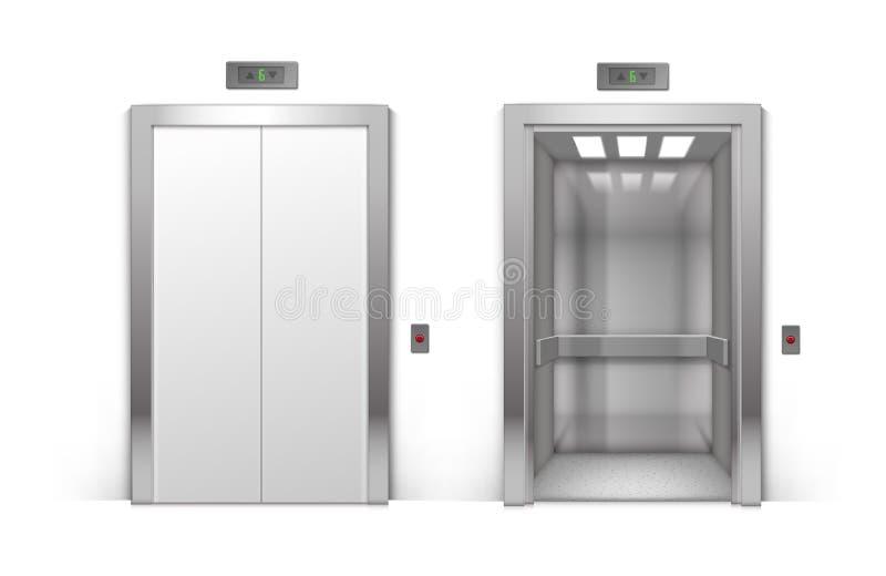 Portes ouvertes et ferm es d 39 ascenseur de b timent en m tal illustration de vecteur image - Operateur de porte d ascenseur ...