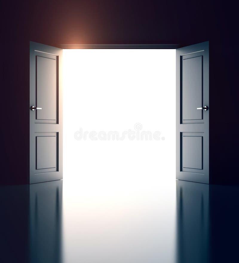 Portes ouvertes sur le mur blanc illustration stock